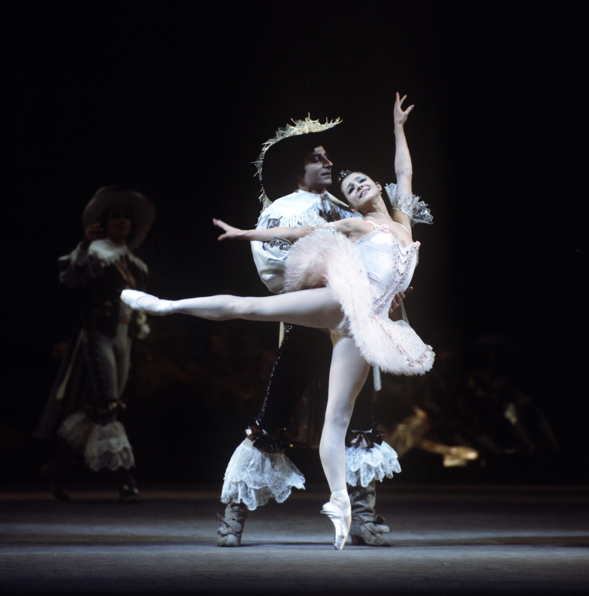 Yekaterina Maksimova as Princess Aurora and Azary Plisetsky as Suitor in a scene from Pyotr Tchaikovsky's ballet Sleeping Beauty. 1978.