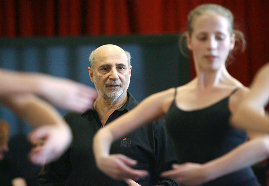 Azary Plisetsky, a famous dancer and staff coach of Maurice Bejart's Company in Lausanne, conducts an exclusive master-class in Novosibirsk. 2008.
