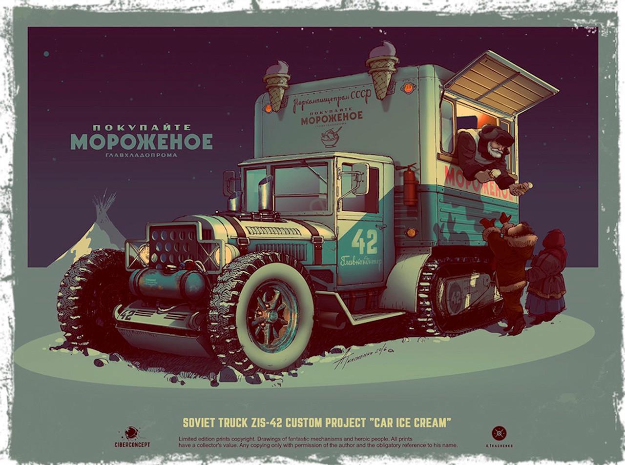 Sijajno! Tovornjak za prodajo sladoleda, ki ima poleg koles tudi gosenice. Ilustracija je nastala na osnovi modela ZIS-42. Brez dvoma lahko tale tovornjak dostavi sladoled tudi otrokom v najbolj oddaljenih krajih!