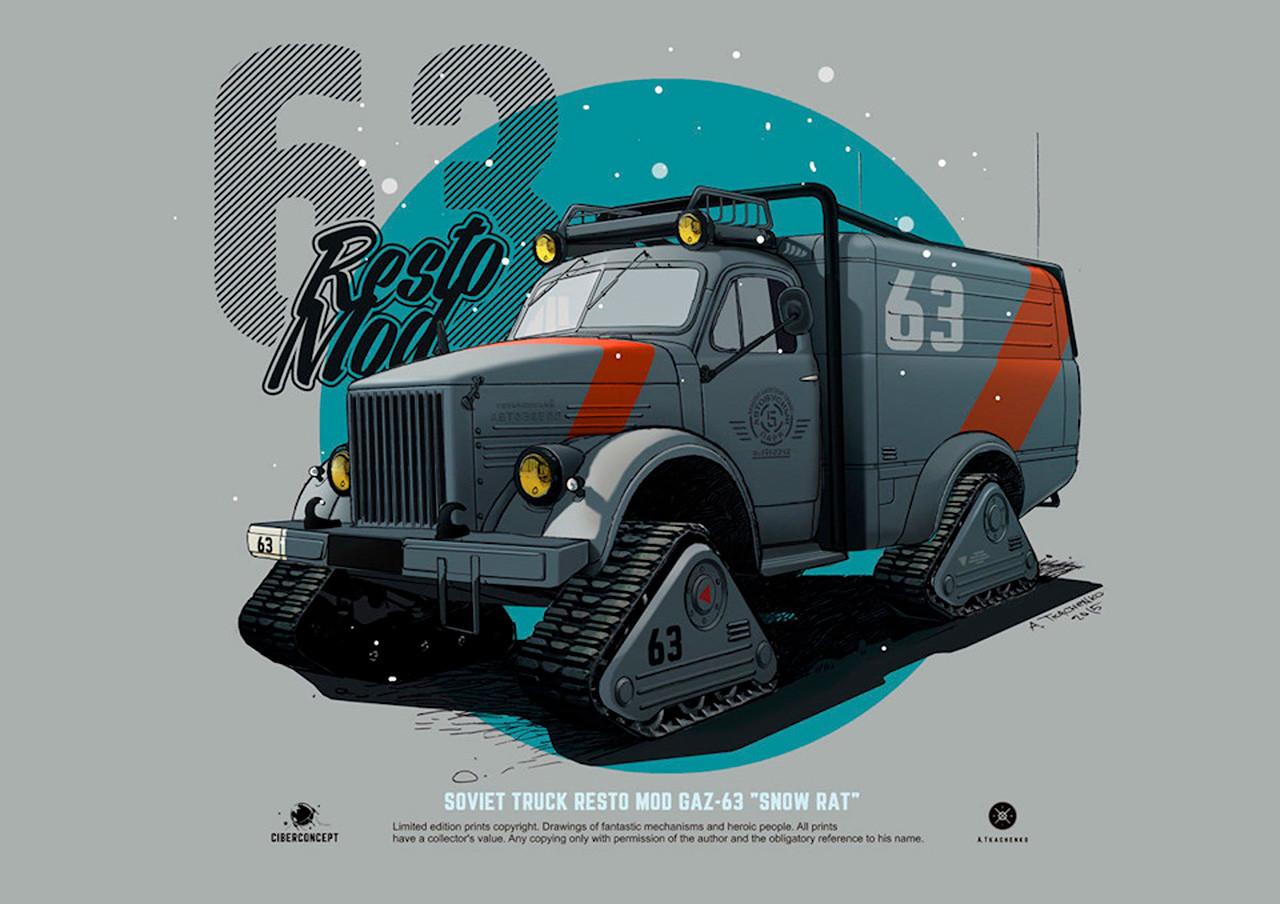 Tale močni stroj na sliki ima vzdevek »Snežna podgana«, nastal pa je na podlagi tovornjaka GAZ-68. Zahvaljujoč gosenicam lahko premaga še tako zahteven teren in pride tja, kamor ne more nobeno drugo vozilo.