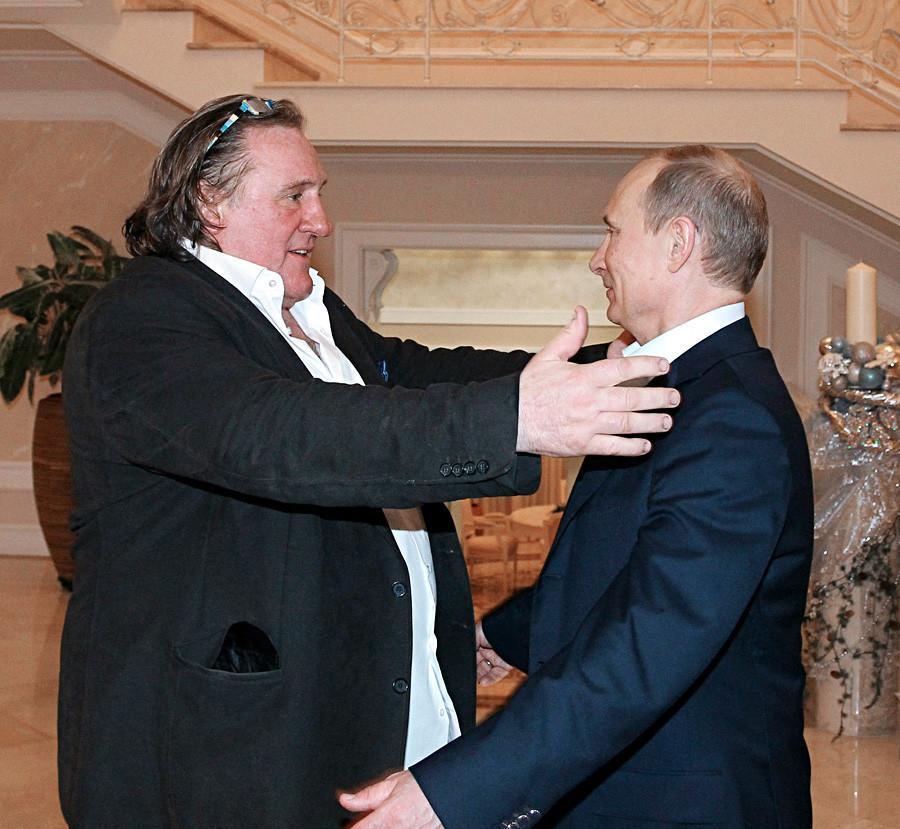 L'attore francese con il Presidente russo Vladimir Putin