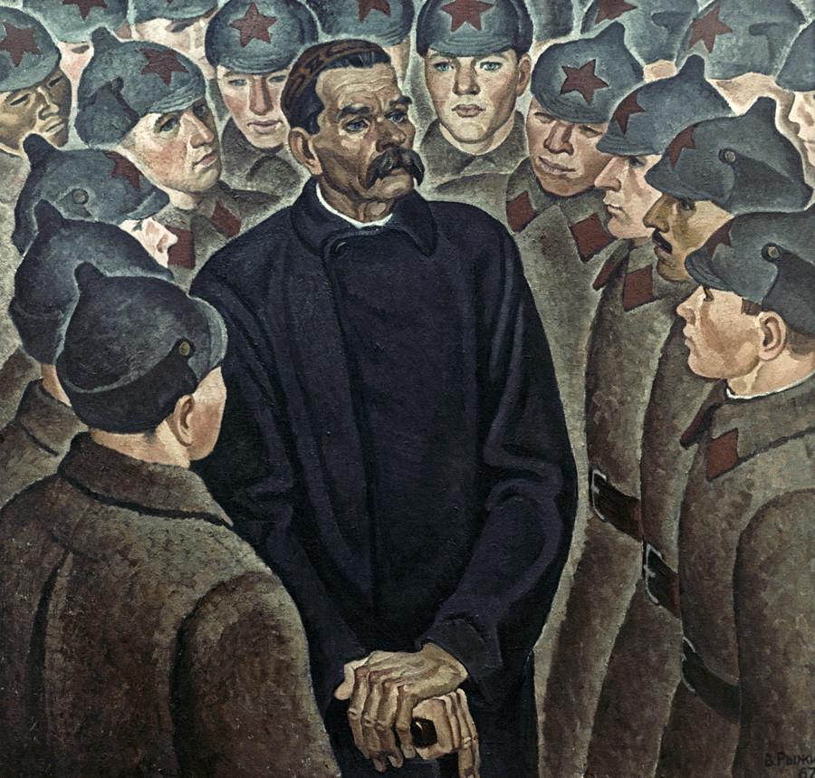 """Reprodução da pintura de Viktor Rijikh """"Maksim Górki visitando os homens do Exército Vermelho""""."""