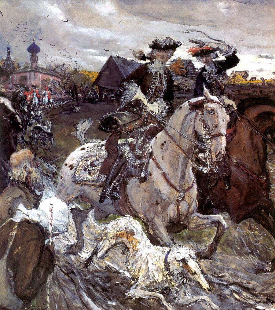 """Валентин Серов: """"Петар II и принцезата Елисавета во лов со кучиња"""""""