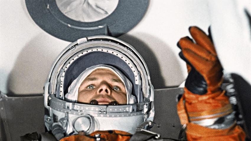 """Кадар од документарниот филм """"Првиот лет кон ѕвездите"""". Јуриј Гагарин."""