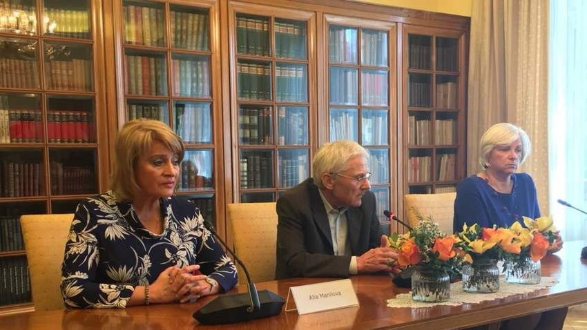 Ala Manilova, Tone Peršak in Andreja Rihter na prvem slovensko-ruskem kulturnem forumu.