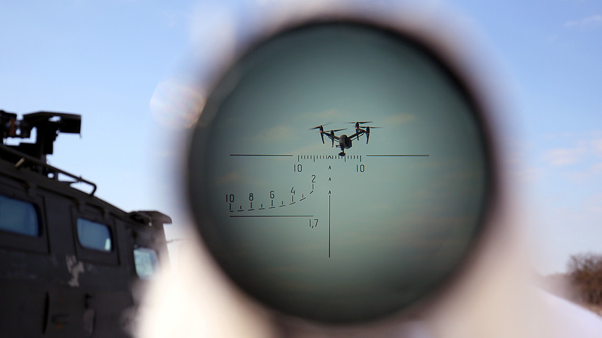 Изпълнение на специална задача, по време на тренировка за борба с въздушни заплахи в района на Ставропол.