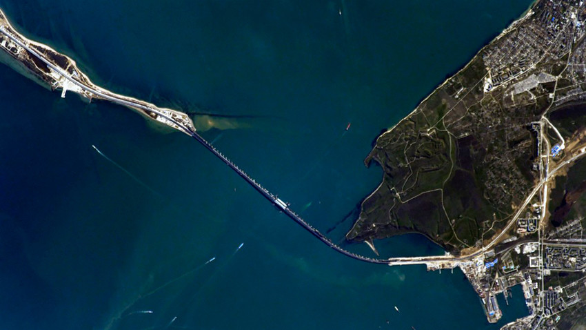 The Kerch Strait Bridge as seen from the ISS