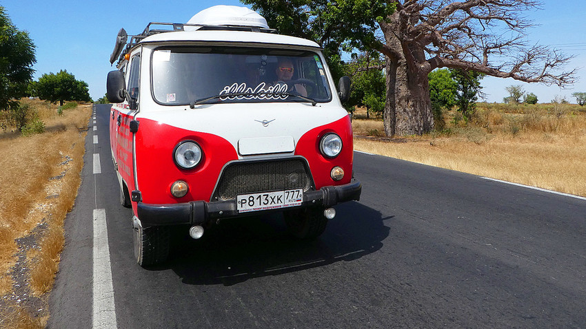 UAZ driving through Senegal