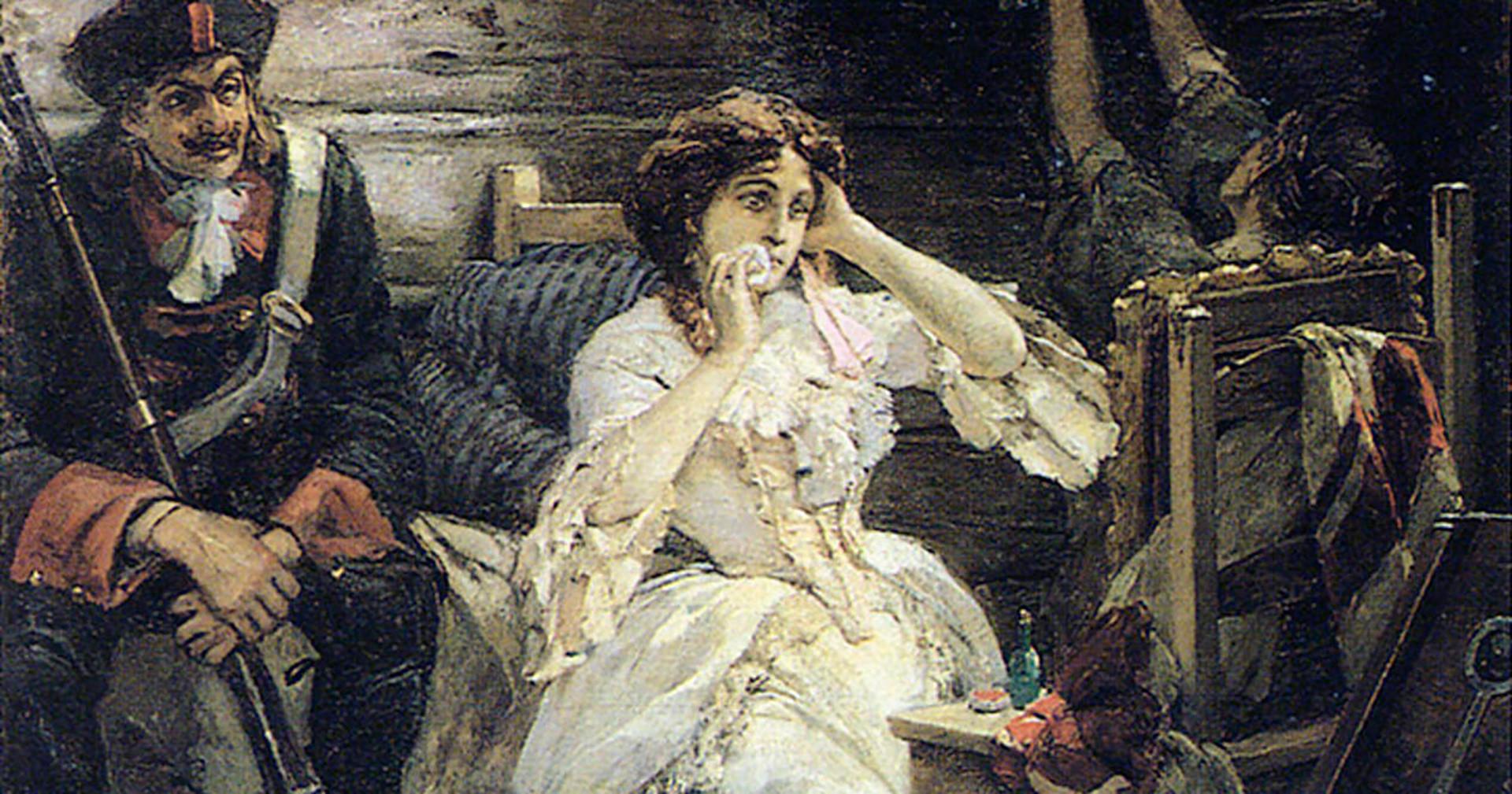 Mary Hamilton sebelum eksekusi. Lukisan karya Pavel Svedomskiy.