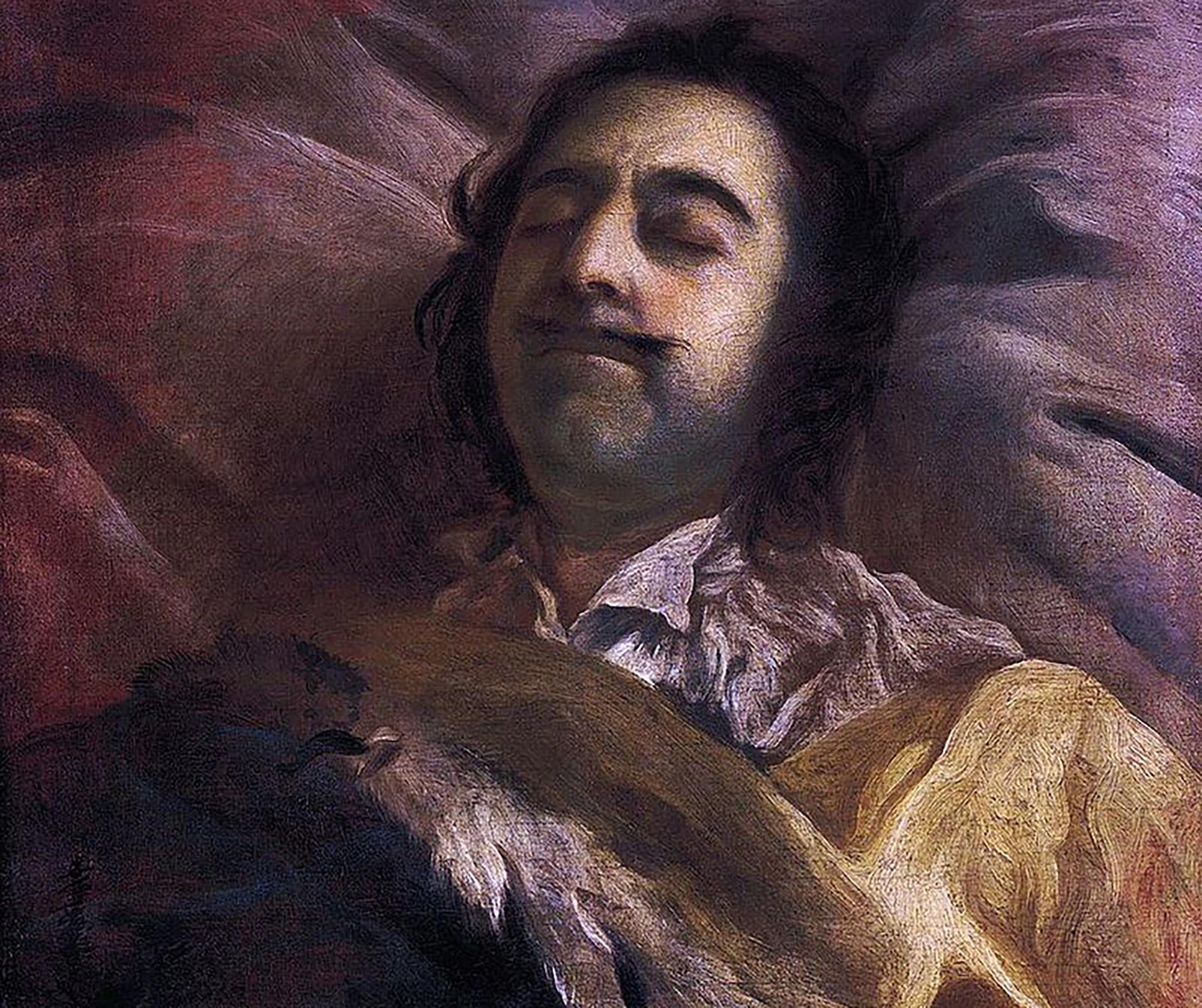 Pyotr I di ranjang kematian. Lukisan karya Ivan Nikitin.
