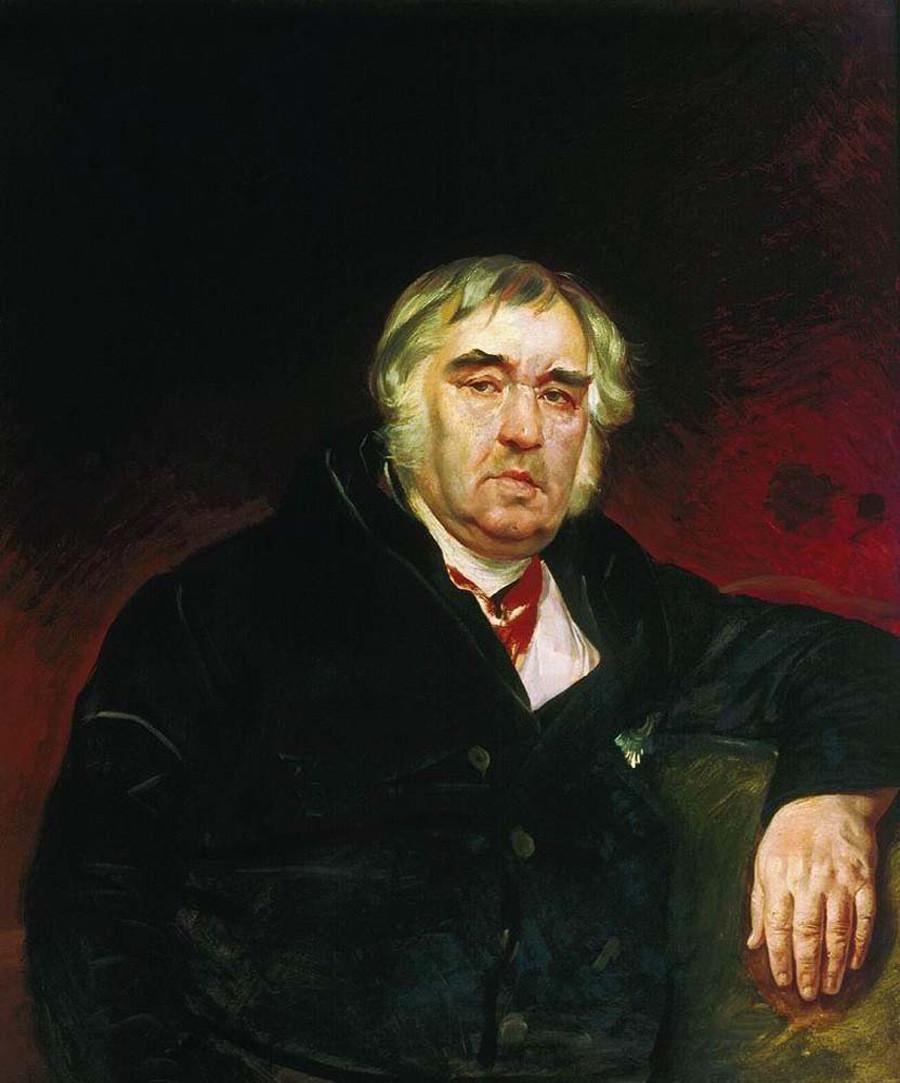 Portrait de l'écrivain et fabuliste russe Ivan Krylov par Karl Brioullov