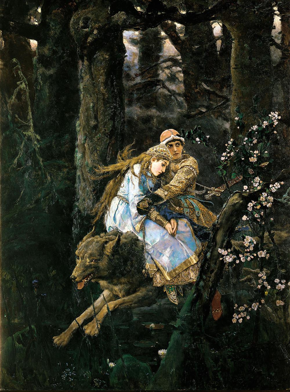 Ivan Tsarévitch chevauchant le loup gris par Viktor Vasnetsov