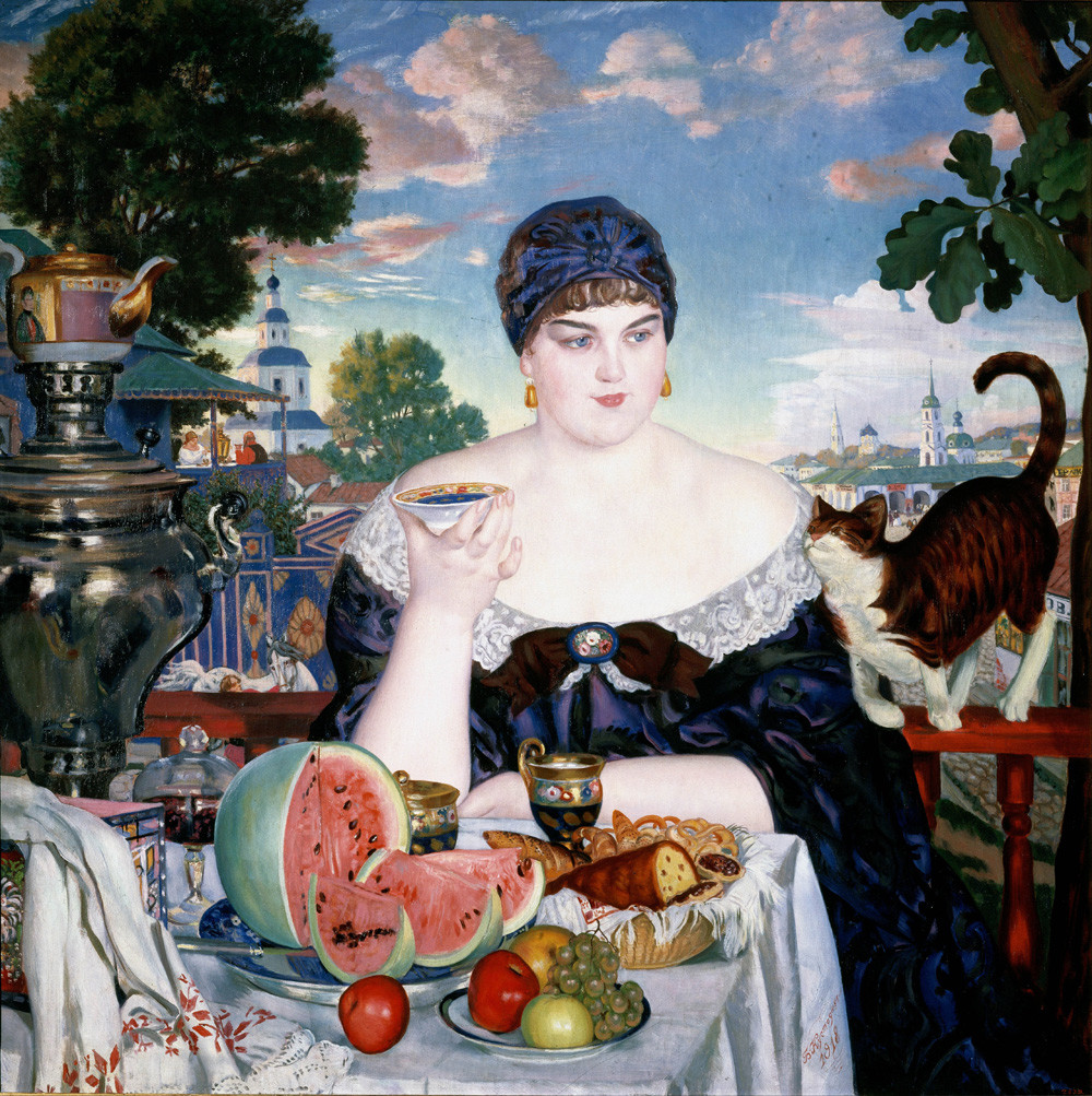 Femme de marchand prenant le thé par Boris Koustodiev