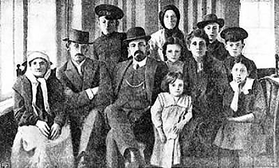 Beilis with his family (he was the father of five) after his release. He didn't live in Russia long after being freed.