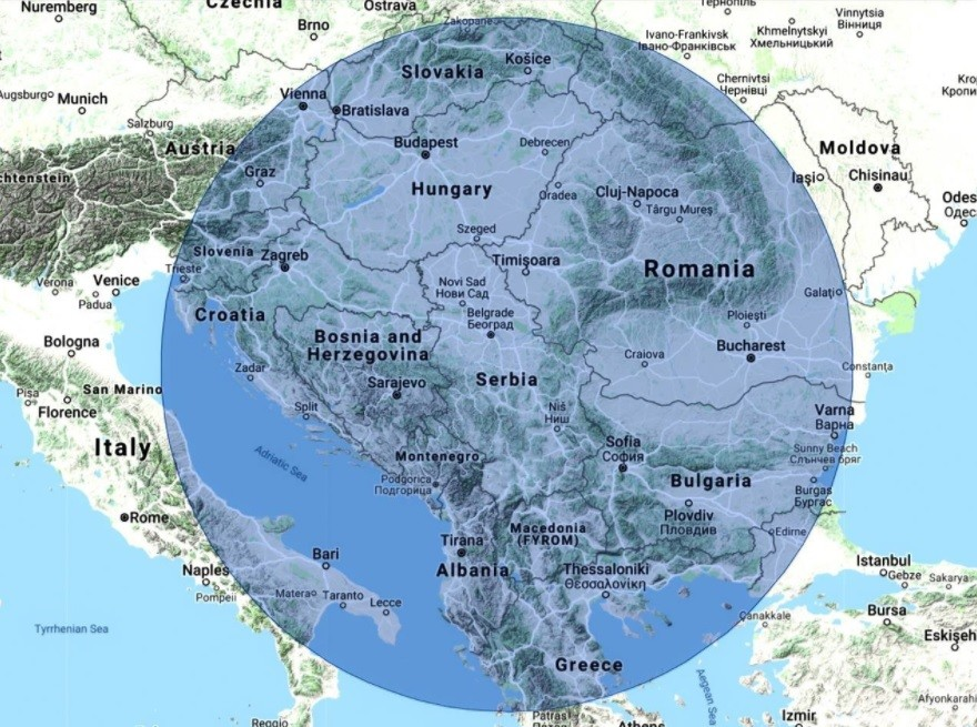 Za lažjo predstavo: Kakšen prostor bi pokrival sistem Nebo-M, če bi ga postavili v Srbiji.