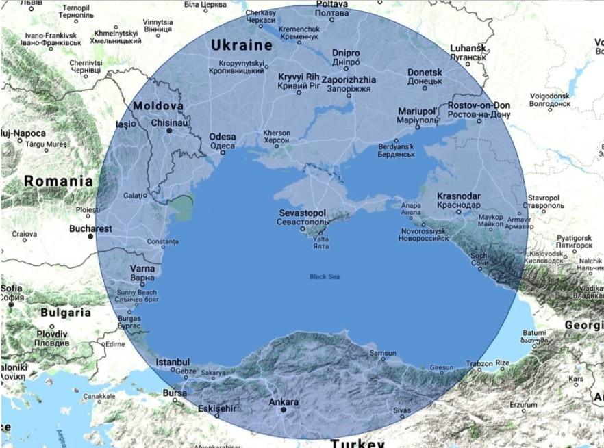 Domet radarskega sistema Nebo-M, če se nahaja na območju Sevastopola na polotoku Krim.