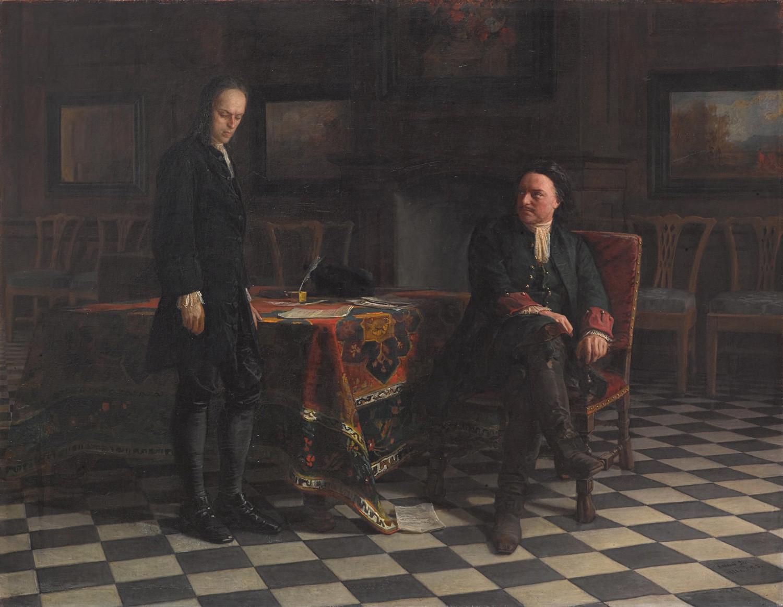 Peter der Große verhört Zarewitsch Alexej Petrowitsch in Peterhof von Nikolai Ge, 1871