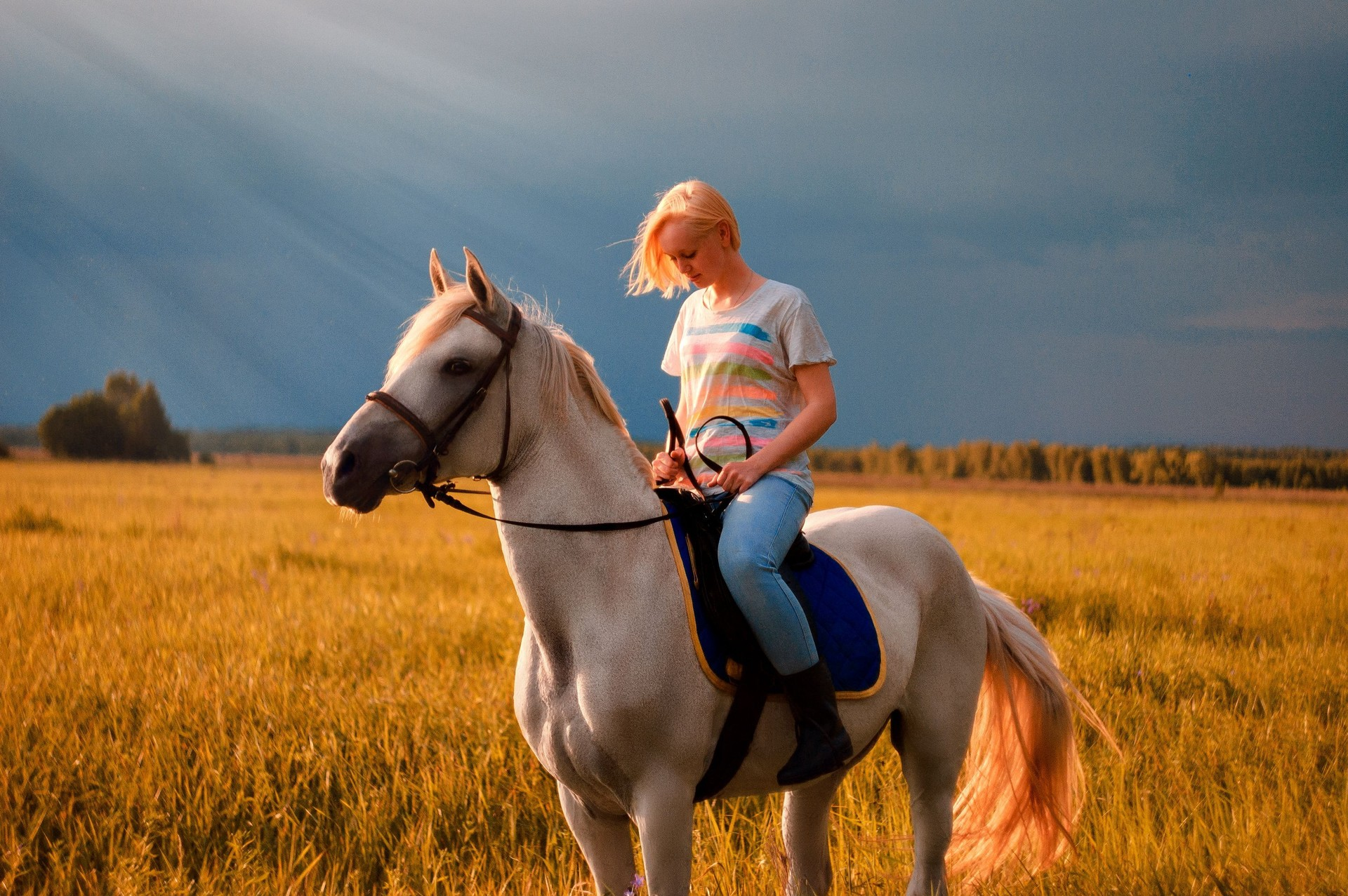 Seorang sukarelawan naik kuda di klub wisata kuda Verkhom po Meshere.