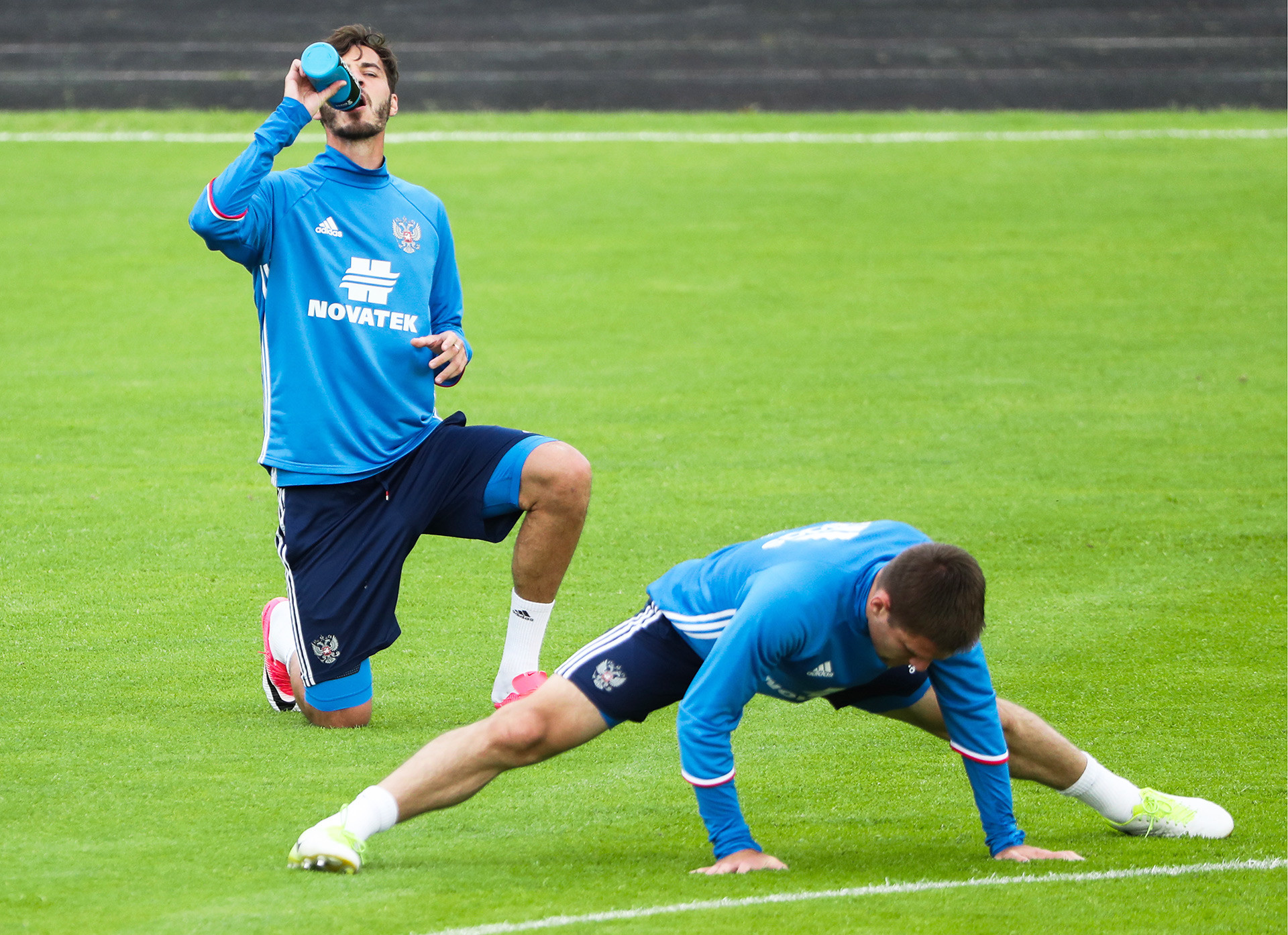 Russian national football team training ahead of friendly with Chile, June 2017.