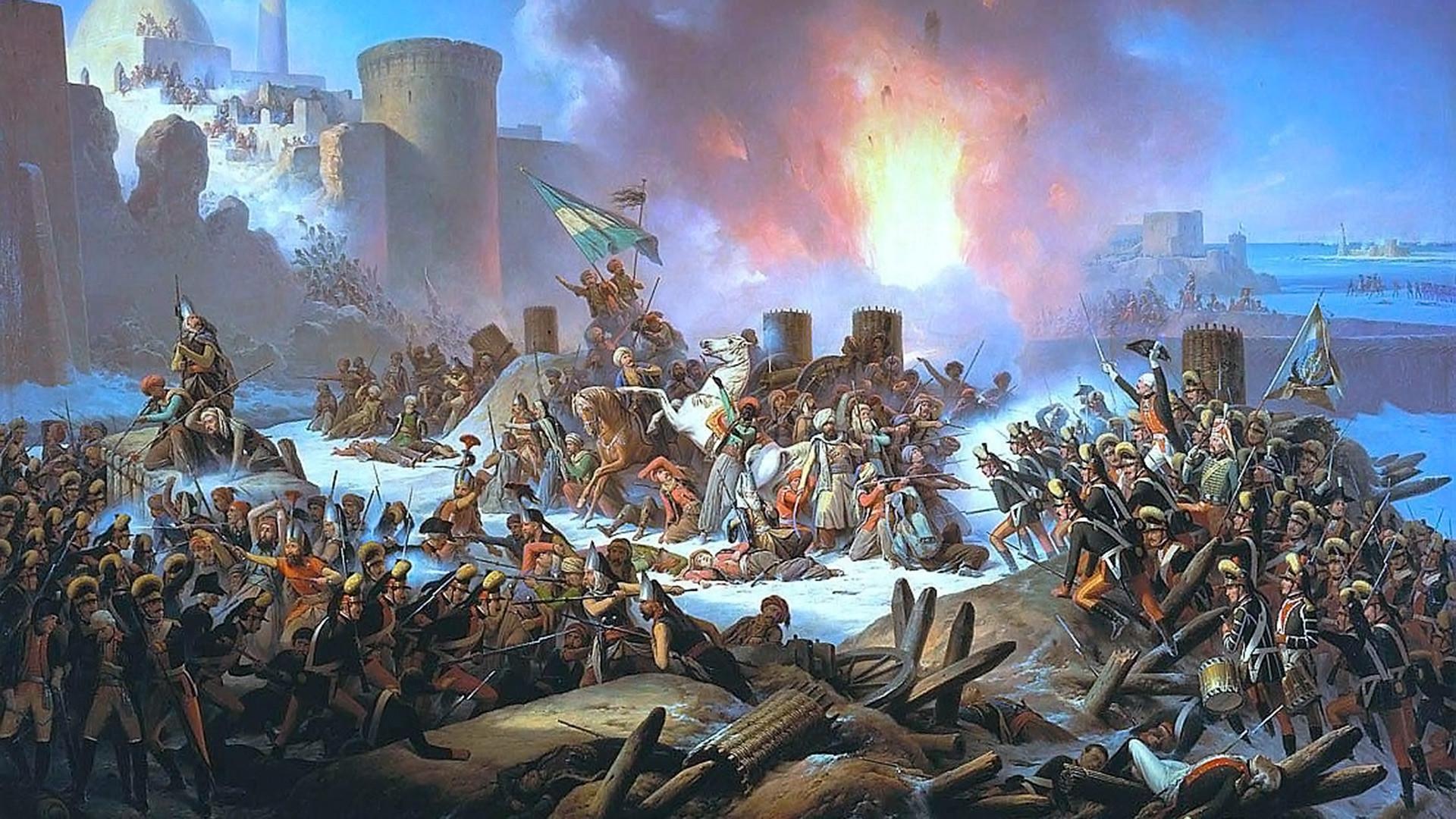 Stürmung von Otschakow am 6. Dezember 1788 von January Suchodolski, 1853