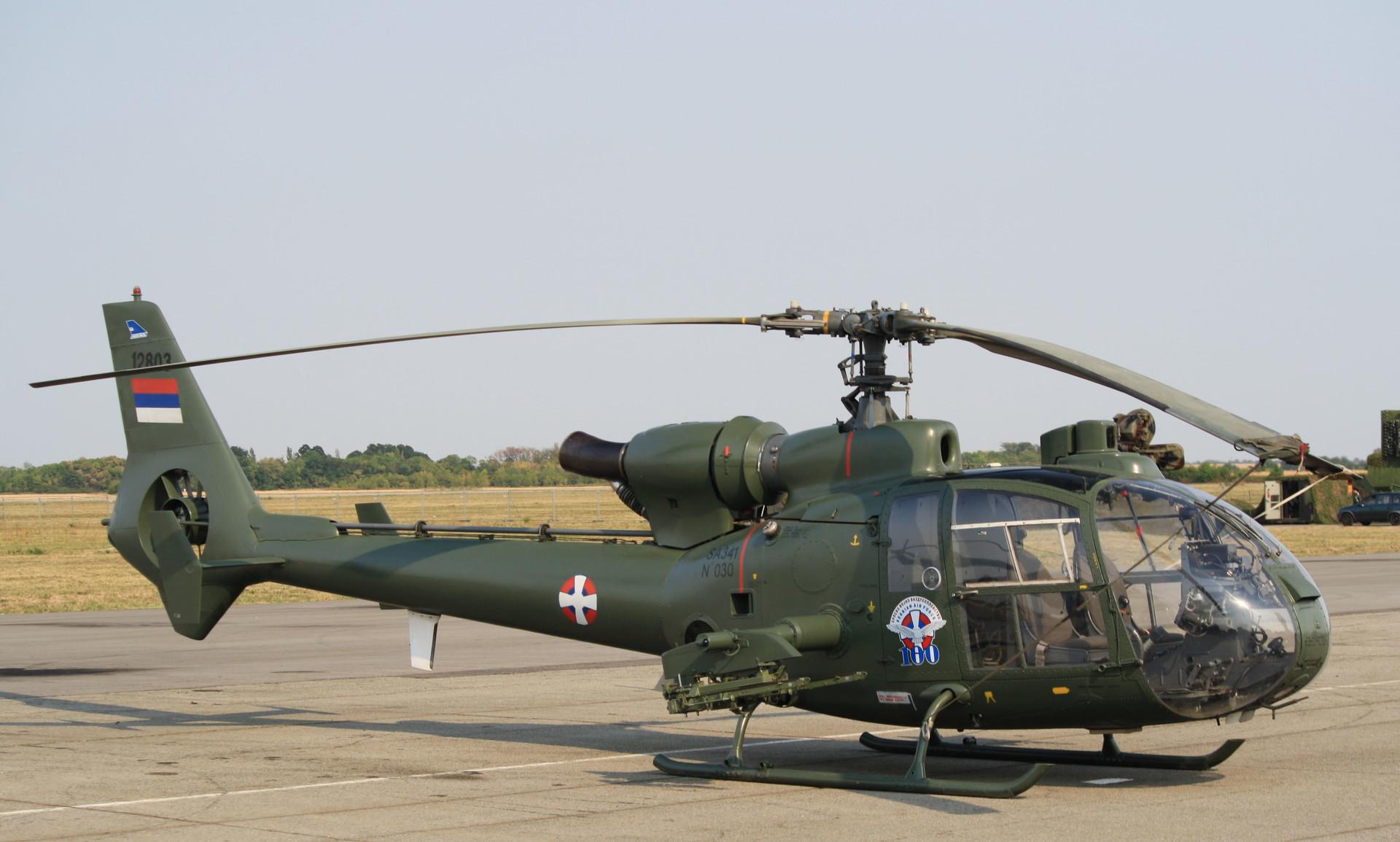 Противоклопни хеликоптер Газела ГАМА број 12803 из састава 890. мешовите хеликоптерске ескадриле 204. ваздухопловне бригаде Ваздухопловства и ПВО Војске Србије изложен на аеромитингу Батајница 2012 поводом прославе века Српског војног ваздухопловства.