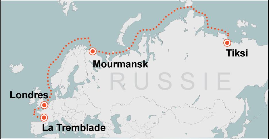 Parti de Tiksi, Smurgis avait gagné Mourmansk puis Londres avant de mettre le cap sur le sud jusqu'à son naufrage.