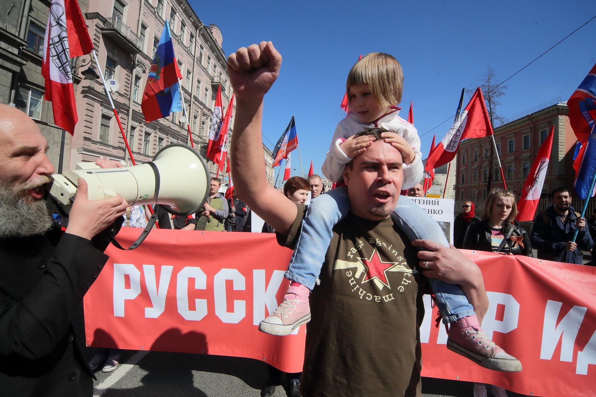 Primero de mayo en San Petersburgo, 2016.