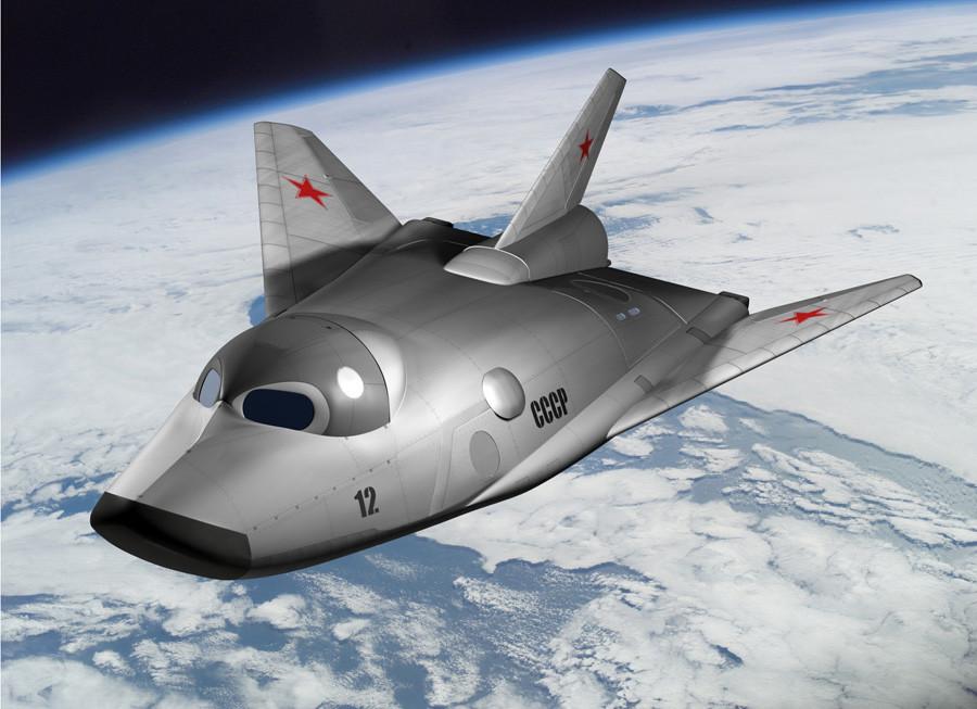 """Prototipo del avión espacial, el MiG 105-11 """"Spiral""""."""