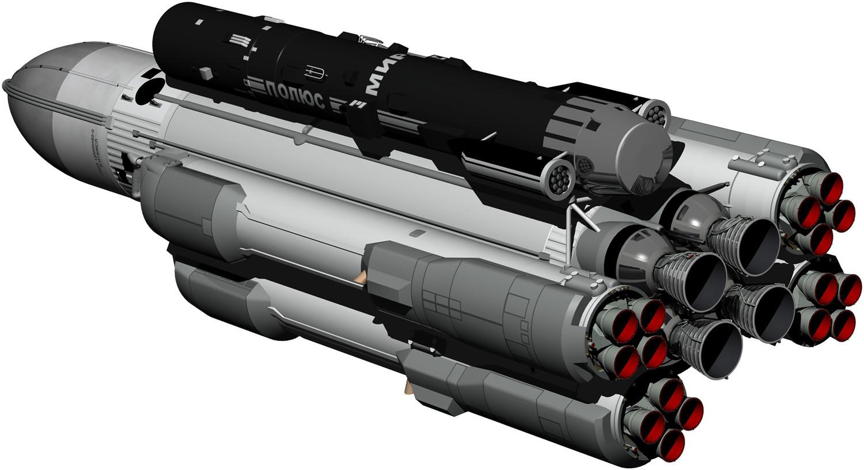 """Prototipo de plataforma de armas espaciales soviético """"Polyus""""."""