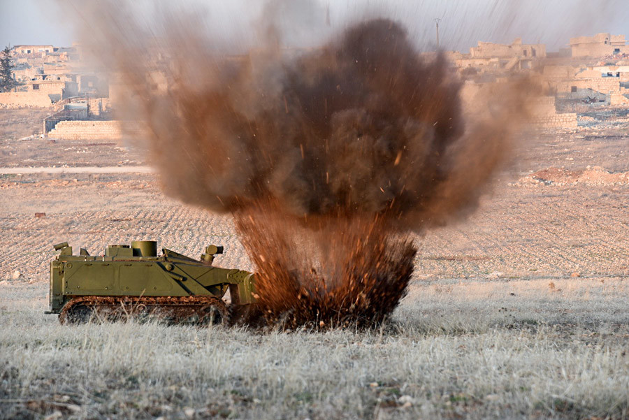 Military engineers of the Russian Army's international counter-mine center continue the demining operation in eastern Aleppo, Syria. Uran-6