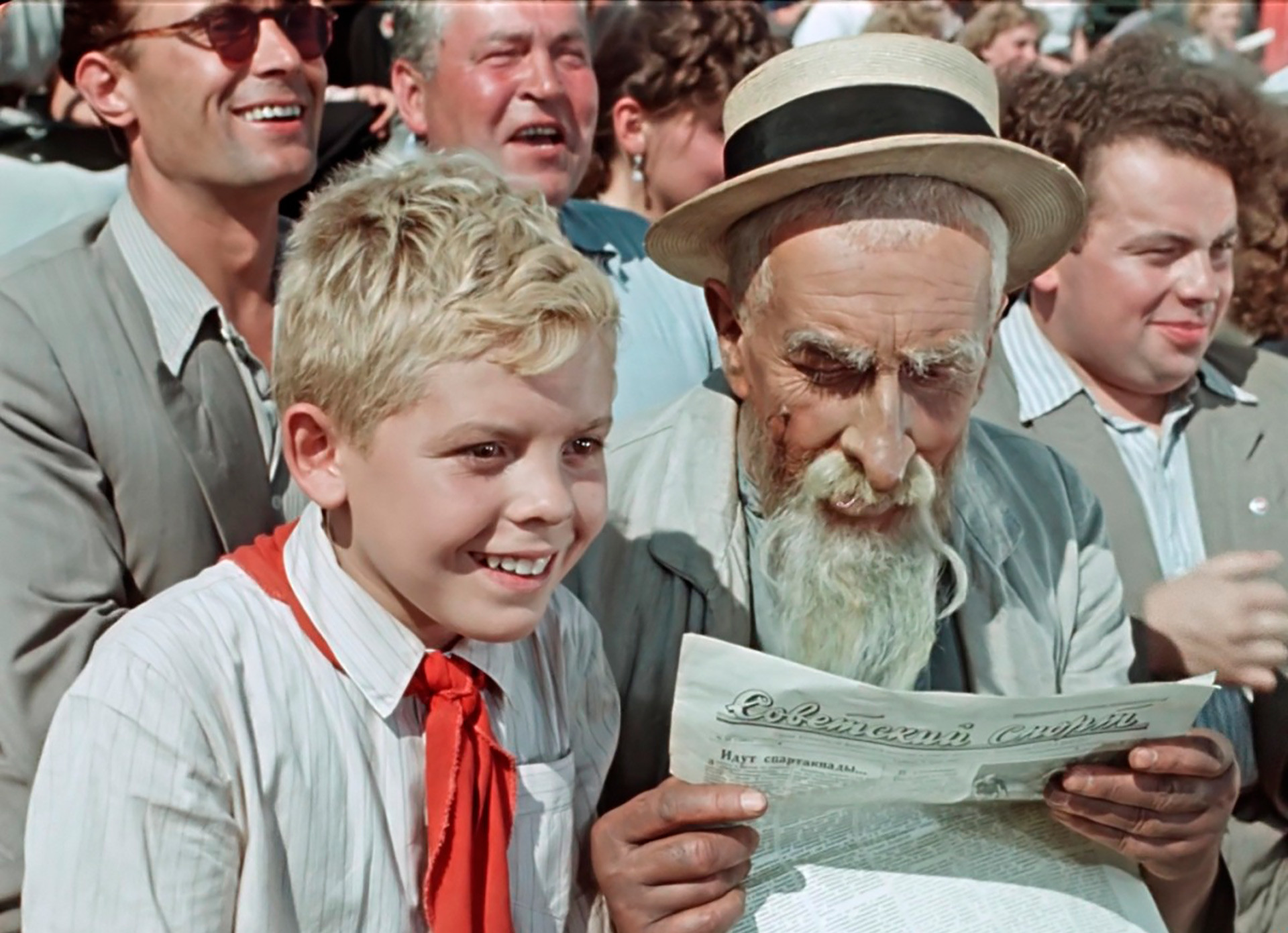 Hottabych and Volka during a football match: A screenshot from a Soviet movie