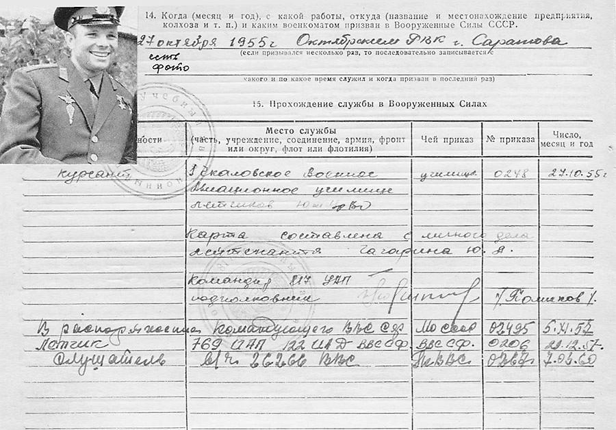 Страница од досието на Гагарин