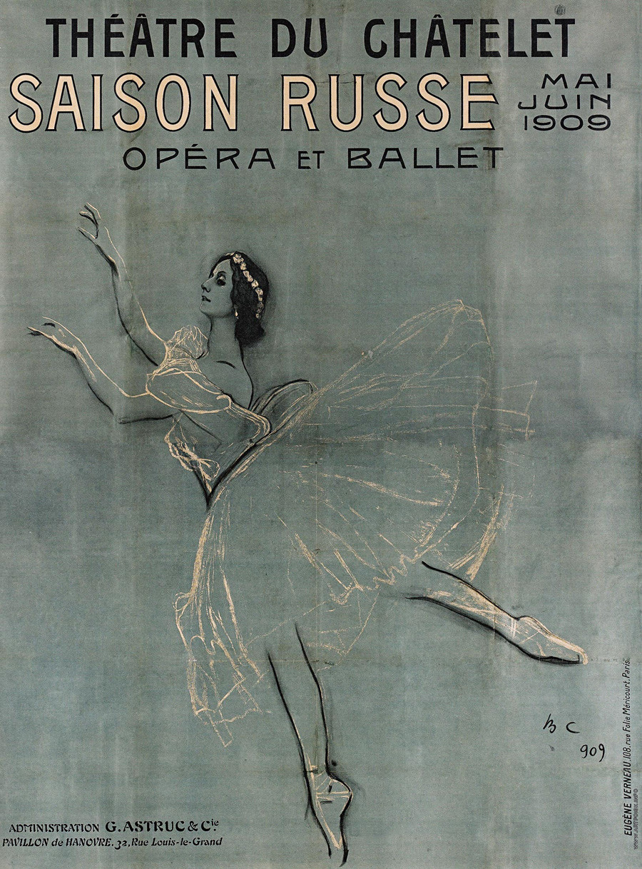 Poster depicting Anna Pavlova advertising the Ballets Russes in Paris in 1909. Designed by Velentine Serov.