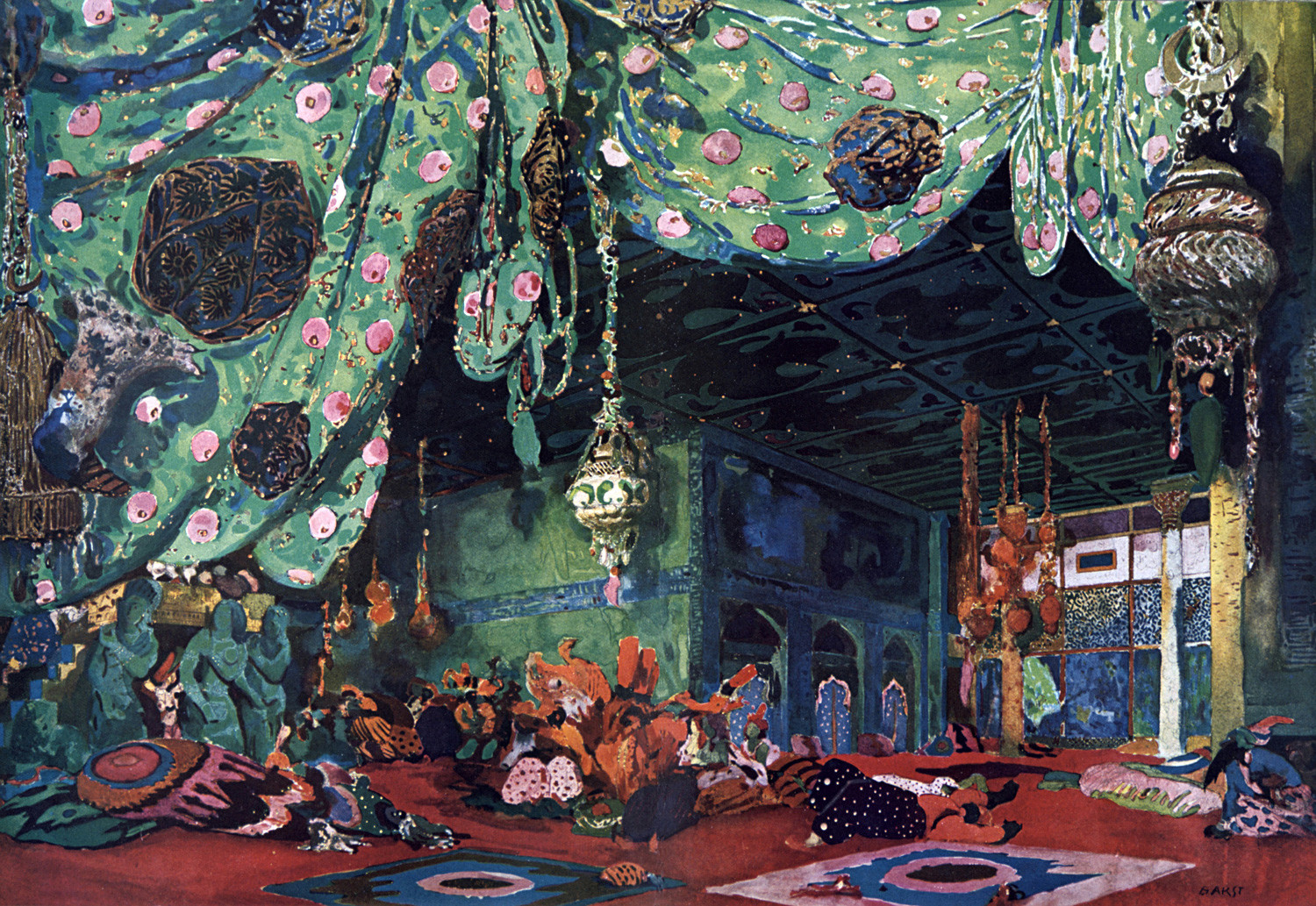 Scenery design by Leon Bakst (1866-1924) 'Scheherazade' produced in 1910 by Sergei Diaghilev's Ballets Russes. Music by Nikolai Rimsky-Korsakov, choreography by Michel Fokine.