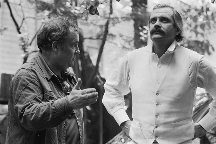 Eldar Rjazanov in Nikita Mihalkov na snemanju filma Surova romanca, 1983.