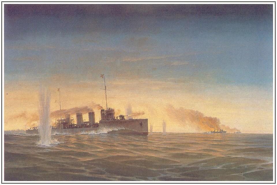 """Batalla del destructor 'Nóvik' con los destructores alemanes, el V99 y el V100, en ell Golfo de Riga"", obra de G.V. Gorshkov."