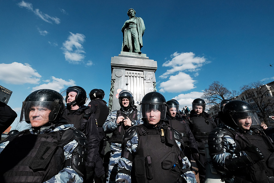There are a lot of police and security guards in Russia.