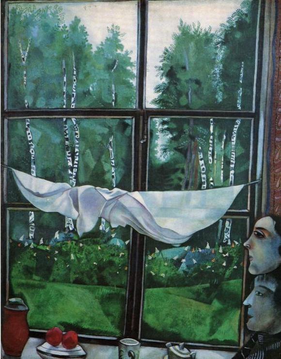 Blick aus dem Fenster,  1915 (Staatliche Tretjakow-Galerie, Moskau)