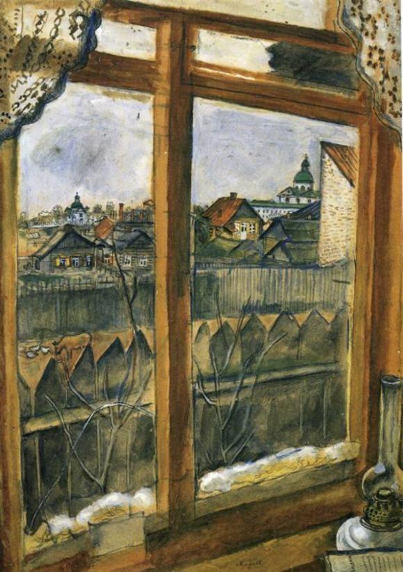 Blick aus einem Fenster in Witebsk, 1914 (Staatliche Tretjakow-Galerie, Moskau)