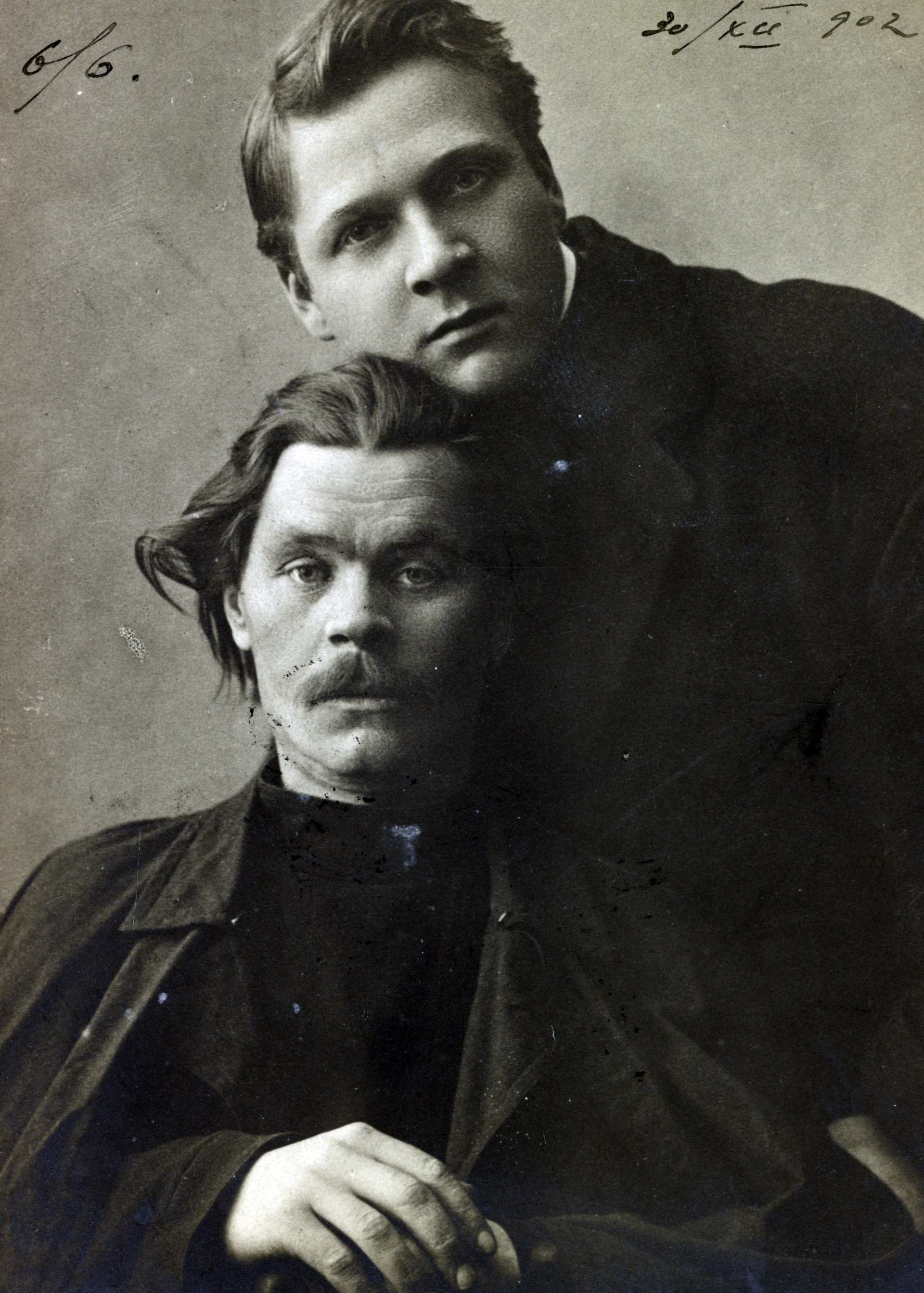 In 1920 Wells met both men that are in that picture from 1901: writer Maxim Gorky (sitting) and singer Feodor Chaliapin