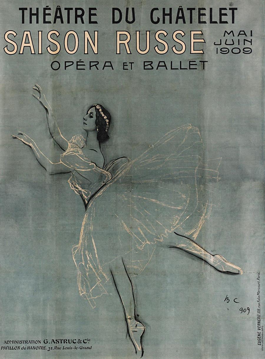 Anna Pávlova pintada en el poster de los Balletes Rusos de 1909.