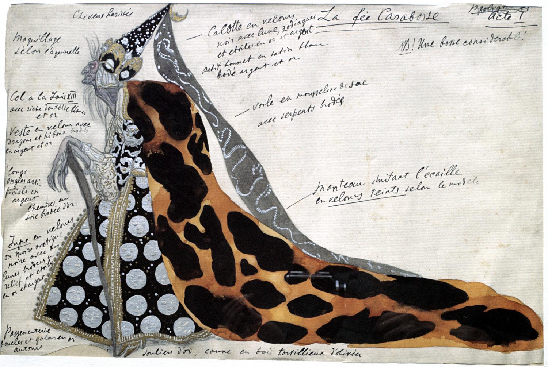 Traje diseñado por León Bakst para la Bruja Carabosse del ballet 'La bella durmiente'.