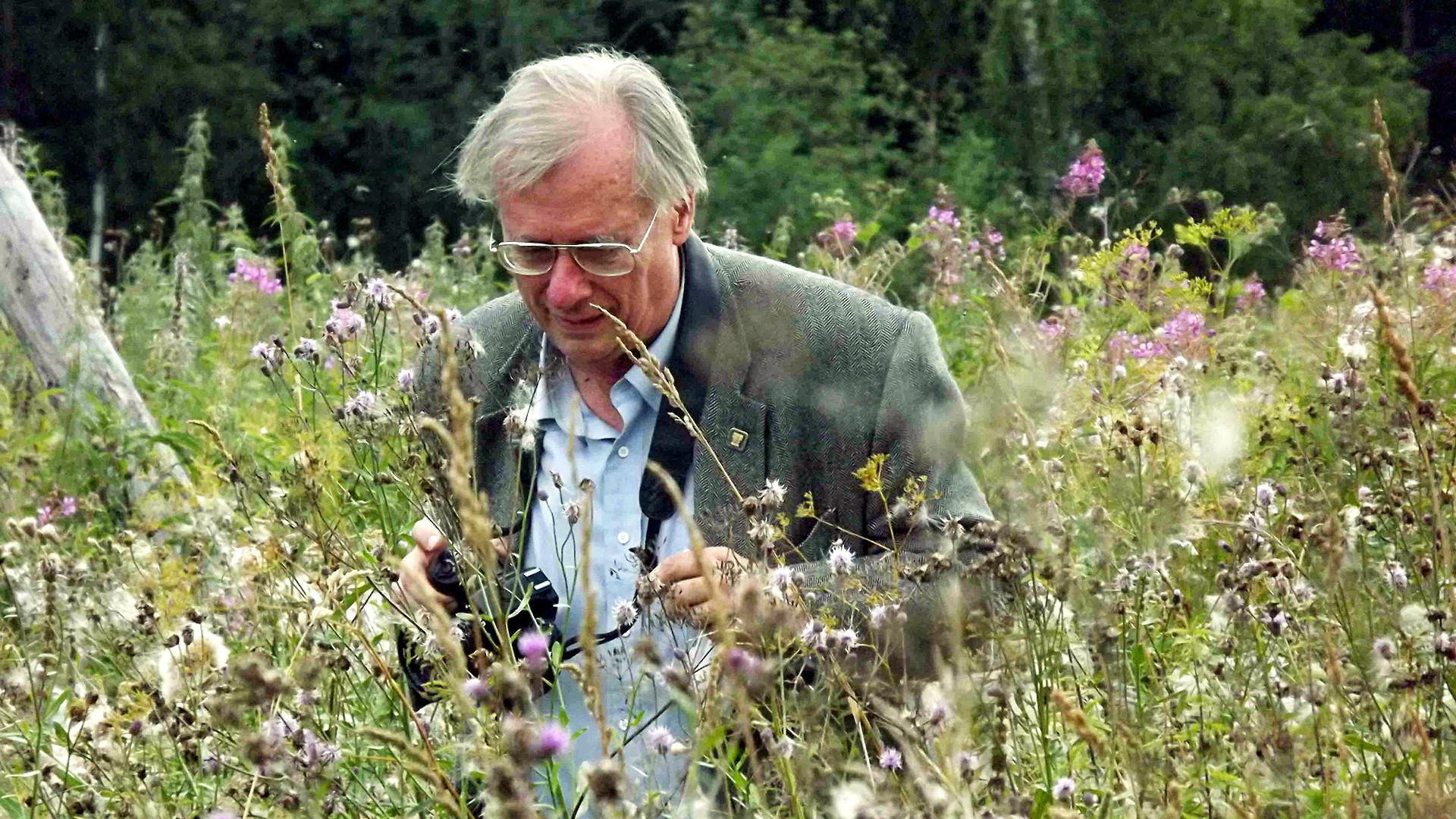 William Brumfield in the field near village of Predtecha, Totma Region (Vologda Province), August 2011