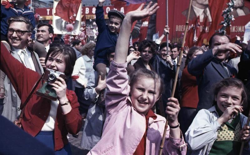Celebración del Primero de mayo en Moscú, años 1960.