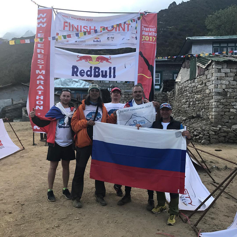 Dmitry (second from the right) at the finish point of the Everest Marathon