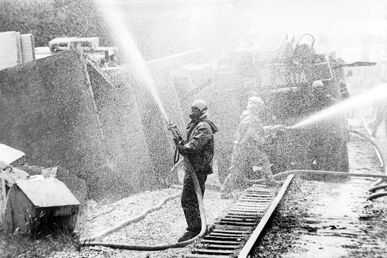 Odpravljanje posledic po nesreči v Černobilu.