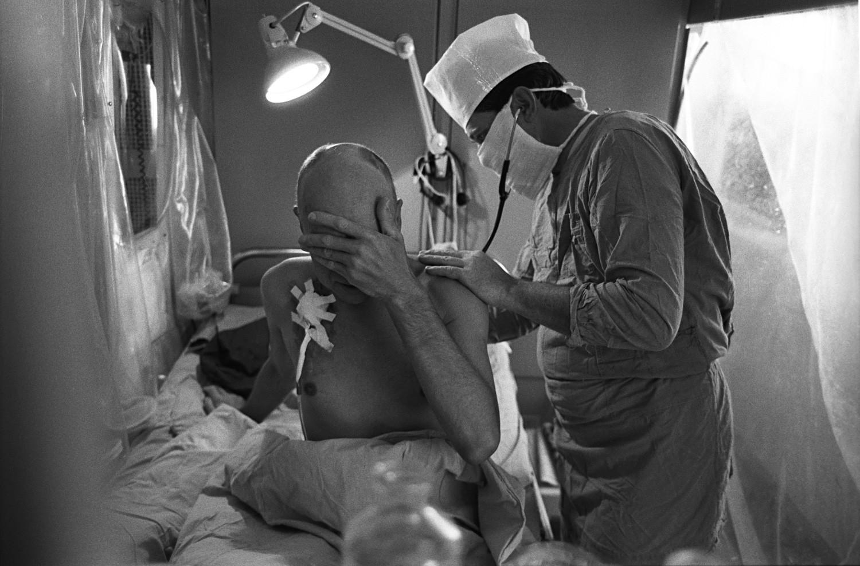 Žrtev posledic černobilske nesreče v moskovski kliniki št. 6.