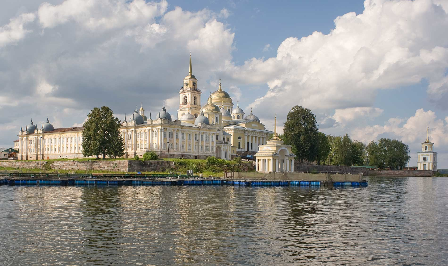Nilova Pustyn, St. Nilus Stolobensky Monastery. Southeast view from Lake Seliger. Aug. 23, 2016.