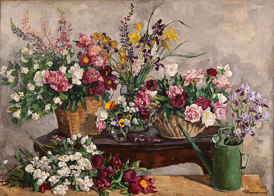 Various flowers (still life with flowers and watering can) by Pyotr Konchalovsky, 1939.