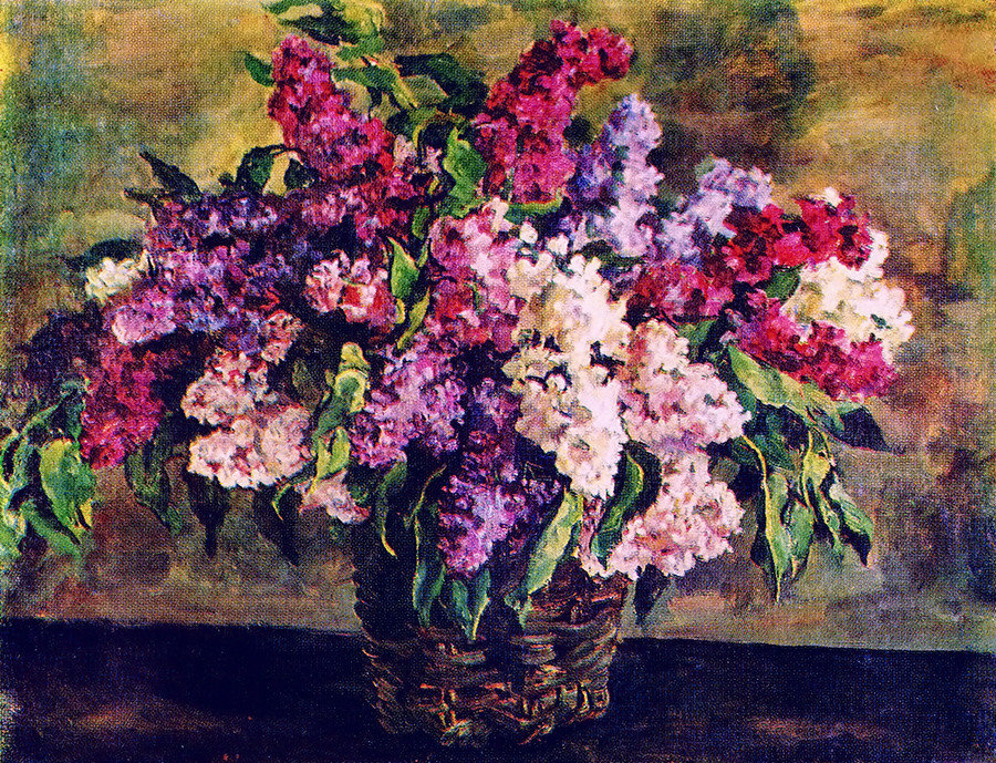 Lilacs in a basket by Pyotr Konchalovsky, 1933.